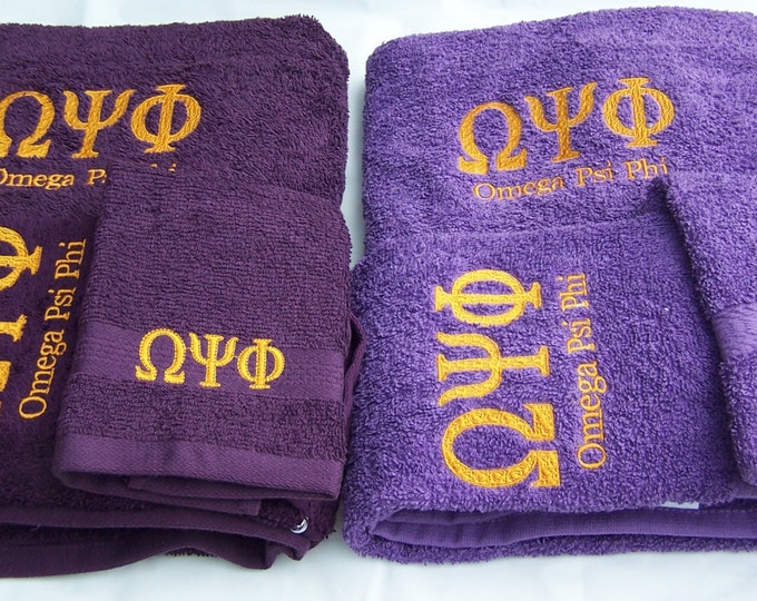 OMEGA PSI PHI Purple  or Deep Purple 3 piece Towel Set (Bath, Hand and Wash)