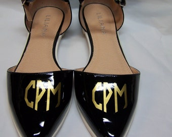 Monogrammed Shoes - Julique Black Patent Flats by Liliana with Gold Custom  Initial Monogram