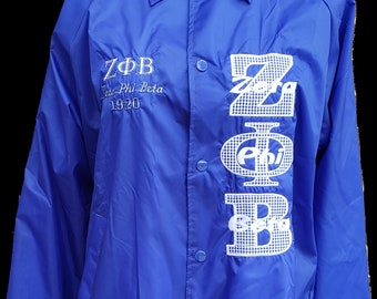 ZETA PHI BETA Royal Blue Nylon Crossing Jacket w embroidered Greek Letters/Vertical Greek Letter Z P B F Lacey Embroid Bold Greek Letters