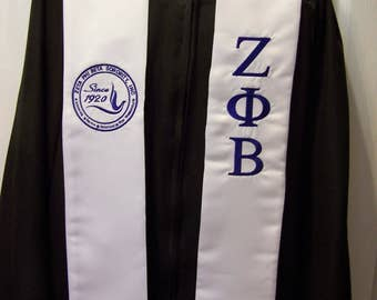 ZETA PHI BETA stole-Royal Blue or White Stole-zpb Dove Seal or Shield Satin Graduation Stole-Greek Letter Embroidery Class of 2019 stole