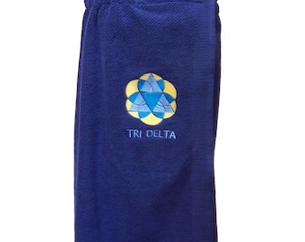 TRI DELTA LOGO Embroidered Pool, Spa, Gym, Black Terry Cloth Shower Wrap and Hand Towel Set