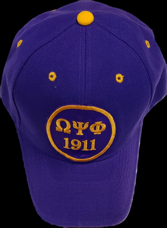 Omega Psi Phi Purple Cap w Greek Letters/1911 Embroidered Satin Patch/ Que Purple Baseball Cap/Omega Psi Phi 1911 Patch Cap/Purple  Gold Cap