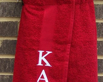 KAPPA ALPHA PSI Greek Letter Embroidered Pool, Spa, Gym, Red or White Terry Cloth Shower Wrap