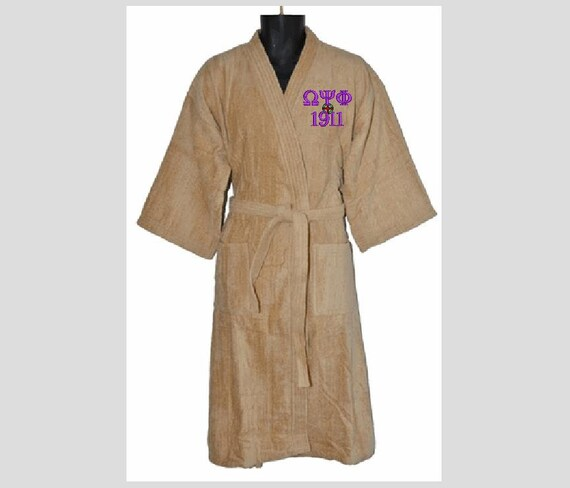 Omega Psi Phi OLD GOLD  Terry Velour Bathrobe Monogram Embroidered with Greek or English Letters One Size/Alpha Omega