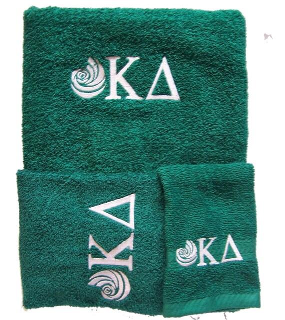 KAPPA DELTA Embroidered  3 piece Towel Set (Bath, Hand and Wash)