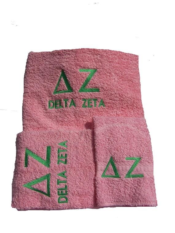 DELTA ZETA PINK Greek Lettered Embroidered 3 Piece Towel Set/DeltaZeta Dorm Decor/Pink n GreenTowel Set/Custom Towel Set