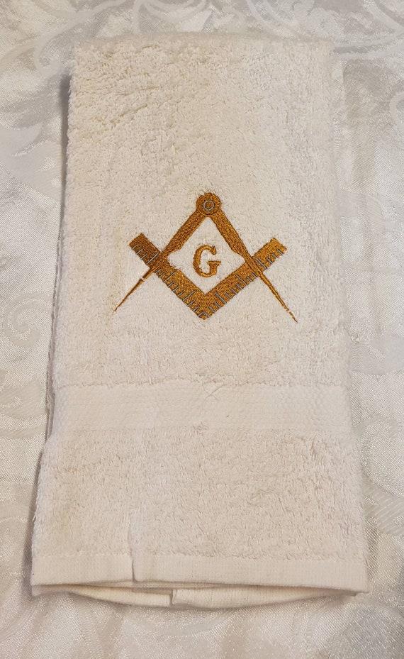EMBROIDERED MASON SQUARE hand towel/Cream Mason Hand towel/Mason Sport Towel/Mason Gym towel/Embroidered Mason Gym Towel