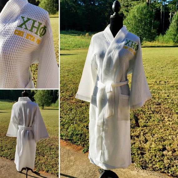 CHI ETA PHI Greek Letter Embroidered Lime Green Bathrobe/Nurse Sorority Bath Robe/Chi Eta Phi Embroidered Lime Green Cotton Terry Bathrobe