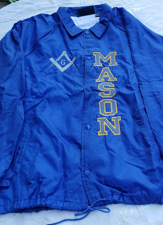 MASON SQUARE Nylon Windbreaker Jacket/Embroidered Masonic Royal Blue Jacket/Mason Embroidered Jacket/Draw String Jacket/Nylon Windbreaker