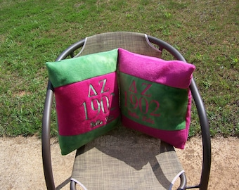 """DELTA ZETA 16"""" Greek Letter/Founding Year Embroidered Pink/Green Color Blocked Pillow"""