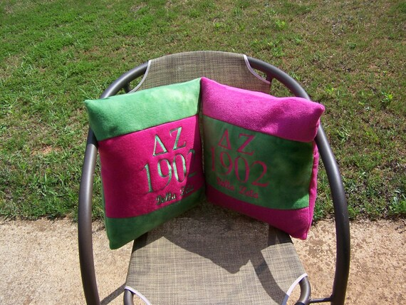 "DELTA ZETA 16"" Greek Letter/Founding Year Embroidered Pink/Green Color Blocked Pillow"