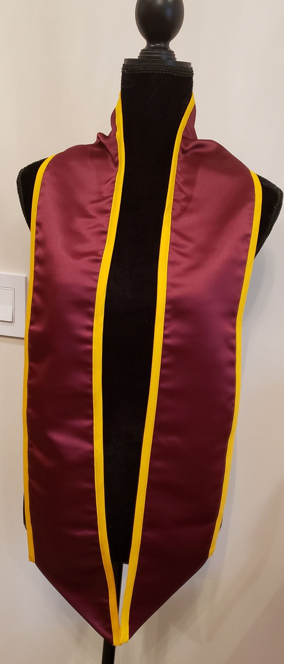 GRADUATION STOLE/GRADUATION Sash/Slant Bottom Sash/Pointed Bottom Stole/Class of  2019 2020 Graduation Stole/Maroon Stole/Gold Trim Stole