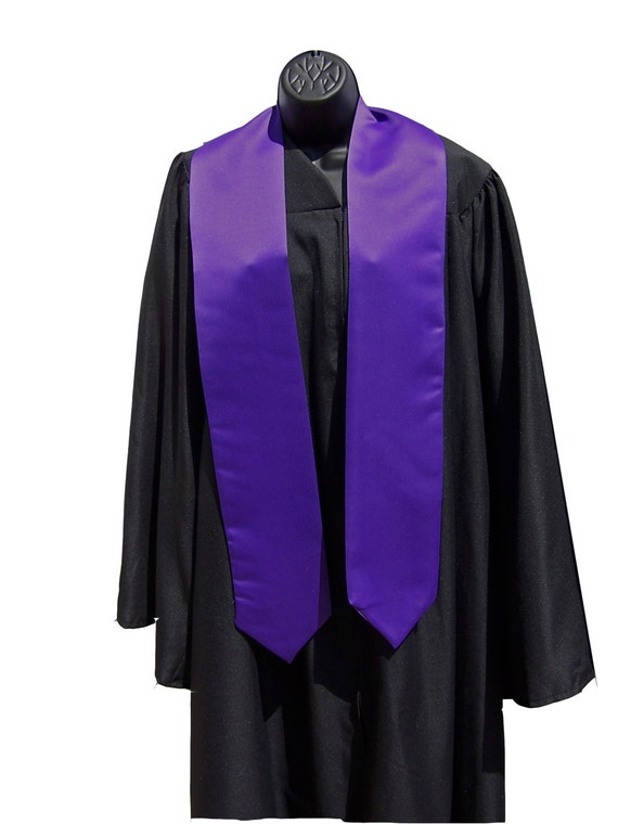 Purple Graduation Stole/Satin Stole with Pointed Tips/Class of 2019/Bold Embroidered Stole/Custom Graduation Stole/Class of 2020