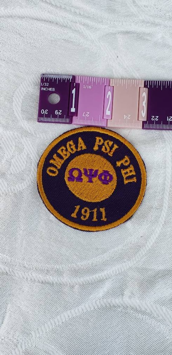 "Omega Psi Phi/1911/Greek Letter Patch  3"" inch round / PURPLE SATIN OMEGA 1911 /Iron On Patch/ Embroidered  Round Iron On Patch"