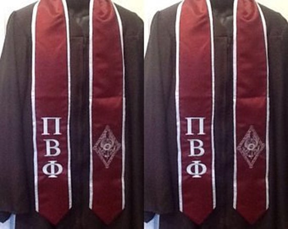 PI BETA PHI Maroon Graduation Stoles with Light Blue Trim/Pi Beta Phi Greek Letter Embroidery/Maroon Graduation Sash/Custom Graduation Stole