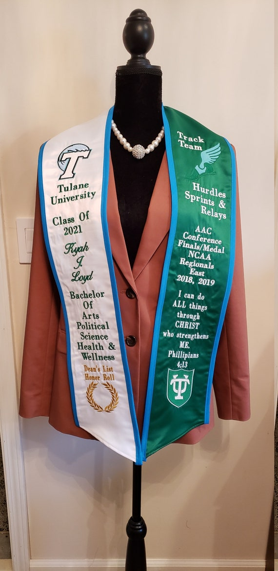 Custom Embroidered Graduation Stole with Slant Bottom/Trim/Greek or English Letters/Class of 2021/Personalized Stole