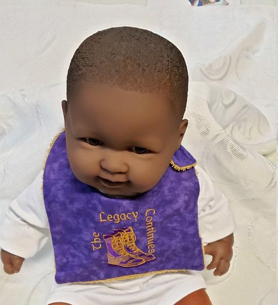Future OMEGA PSI PHI Legacy Continues/Cotton/Terrycloth New Baby Bib/Embroidered Bib/Reversible Boy's Bib/Shower Gift/Photo Prop Bib