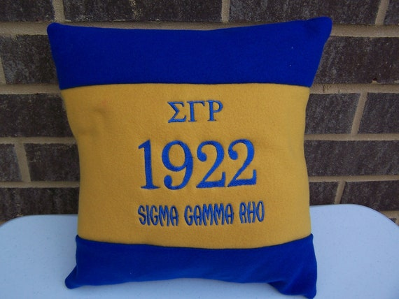"Sigma Gamma Rho 16"" Color Blocked Pillow/H C B U Sorority Pillow/Royal & Gold  color blocked pillow/Sigma Gamma Rho 1922 Pillow"
