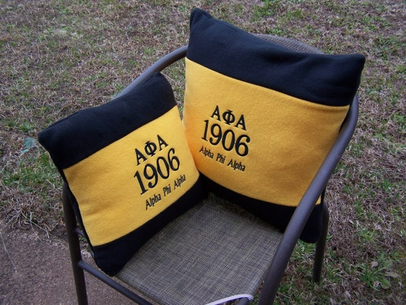 "ALPHA PHI ALPHA 16"" or 20"" Embroidered Fleece Pillow/Black n Gold Alpha Fleece Pillow/"