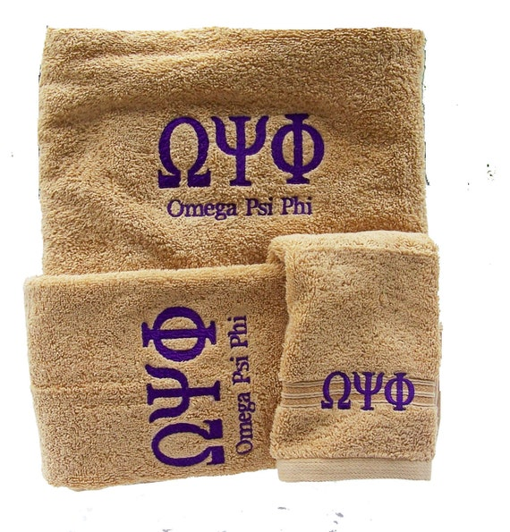 OMEGA PSI Phi Greek Letter Embroidered 3 pc Gold Towel Set w Purple Embroidery/3 Piece Embroidered Towel Set/Gold Que towel Set