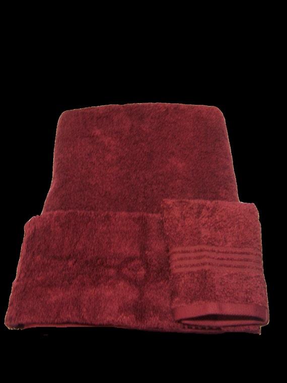 Cranberry Greek Lettered Embroidered 3 Piece Towel Set