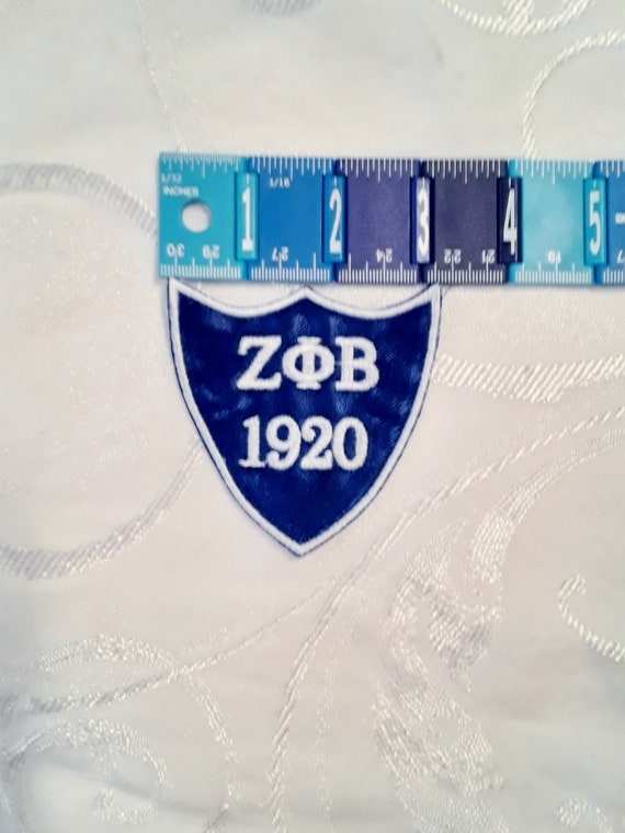 ZETA PHI BETA 1920 Royal Blue Heart Shield Embroidered Greek Letter Patch/Blue Iron On Patch/Zeta Patch/Finer Woman Patch/Zeta Iron On Patch