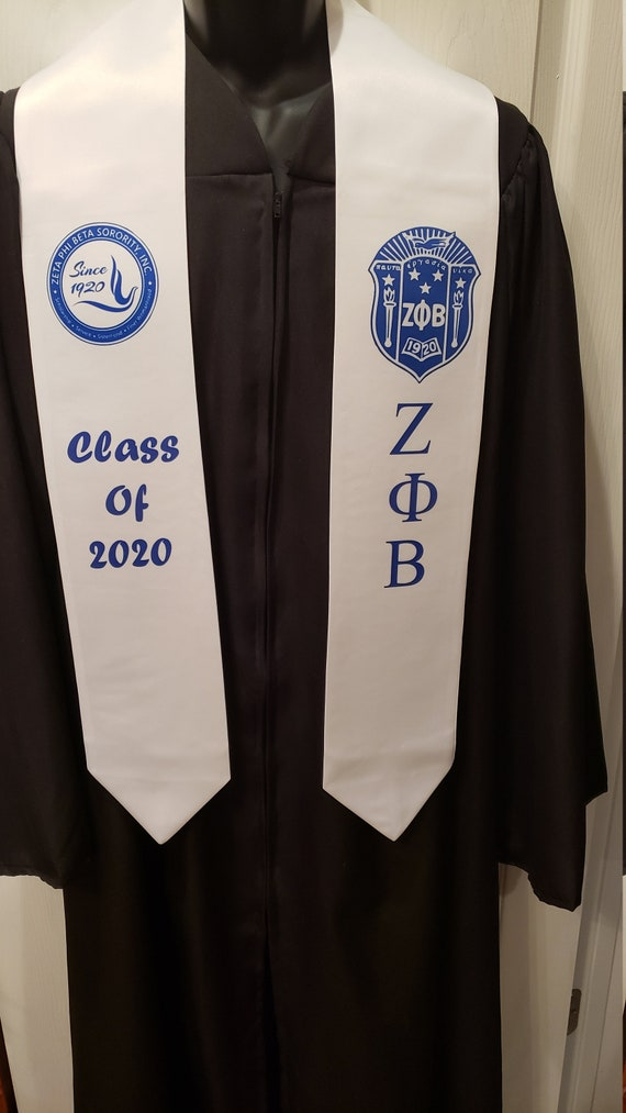 ZETA PHI BETA Shield & Crest Class of 2020 Graduation Stole/Zeta White Satin Dye Sublimated Graduation Stole/Zeta Graduation Gift