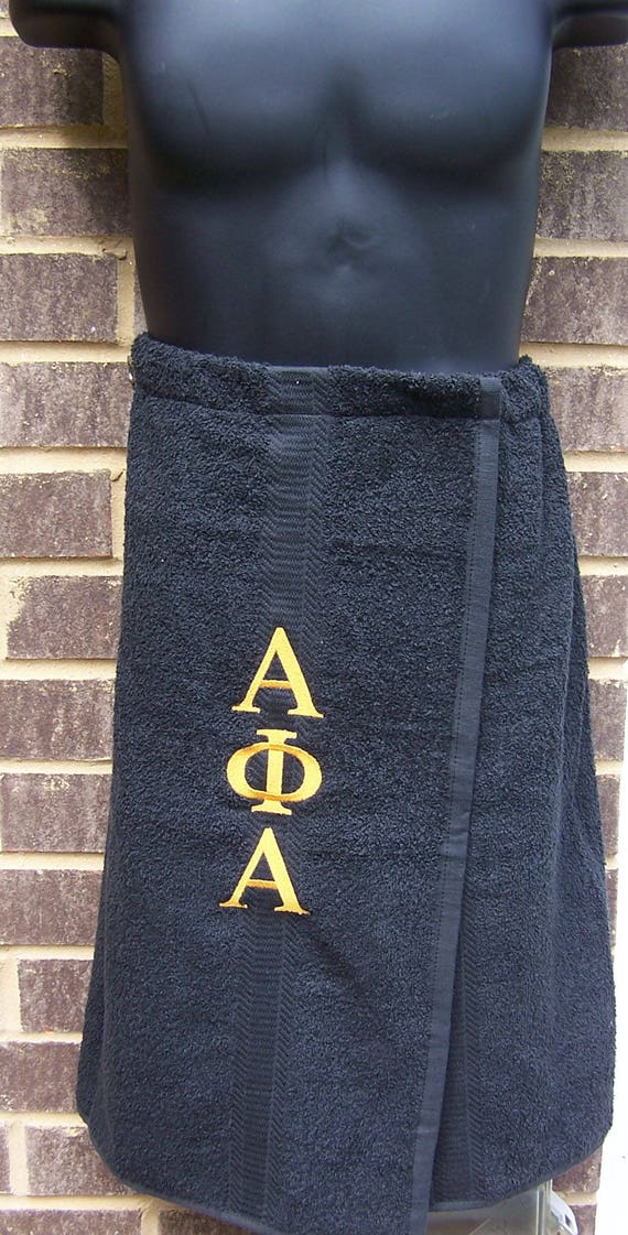 ALPHA PHI ALPHA Greek Letter Embroidered Pool, Spa, Gym, Black Terry Cloth Shower Wrap