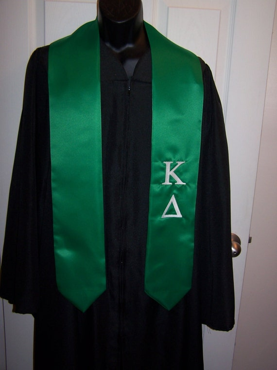 KAPPA DELTA Emerald Greek or White Satin  Greek Letter Embroidered Satin Graduation Stole