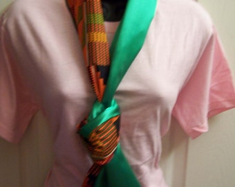 Kente Cloth & Emerald Green Satin,  Printed African fabric/Orange/Green/Black Kente Cloth Infinity Scarf/Cowl