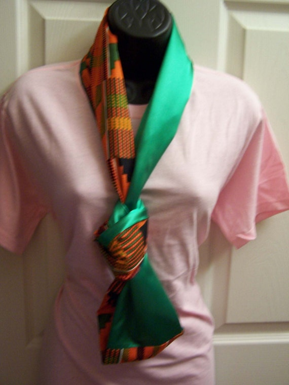Kente Cloth & Emerald Green Satin,  Printed African fabric/Orange/Green/Black Kente Cloth Infinity Scarf/Cowl