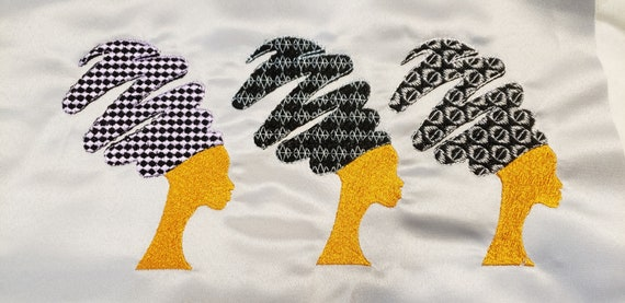 Afro Swirl Hair/Black Woman Hair/Machne Embroidery File/AFRO STYLED HAIR Embroidery Design/Ethnic Black Hair/Cowry Shell Hair Embroidery