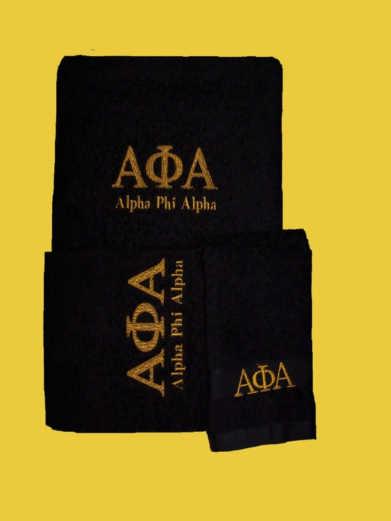 ALPHA PHI ALPHA  Black 3 piece Towel Set (Bath, Hand and Wash)/Black Embroidered Towel set/Alpha Phi Alpha Gift/Alpha Phi Alpha Decor