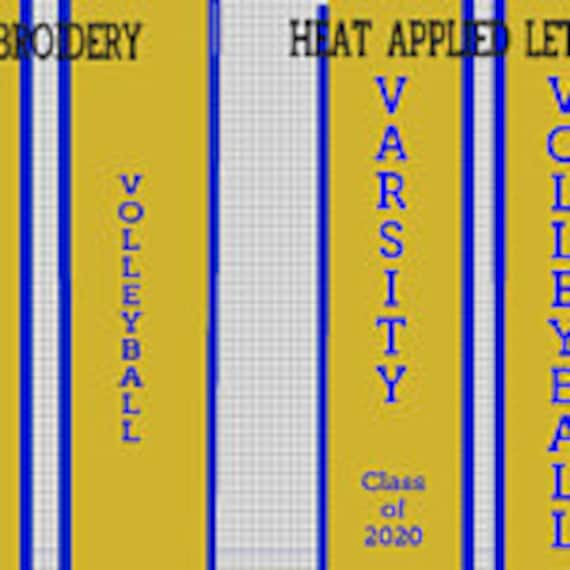 Reserved for RKeeler26/ 8 custom embroidered Slant Bottom graduation stoles/Varsity Volleyball Graduation Stole/Old Gold w Royal Trim Stole