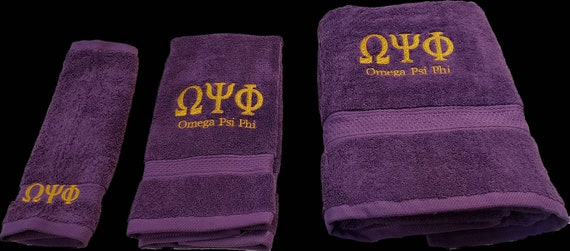 OMEGA PSI PHI Purple Towels w Old Gold Embroidery/ 3 piece Towel Set (Bath, Hand and Wash)/2 Piece Hand Towel Set