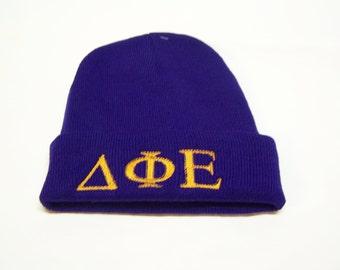 DELTA PHI EPSILON Purple Embroidered Greek Letter Monogrammed Acrylic Knit Beanie