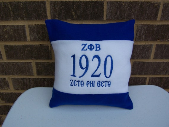 "ZETA PHI BETA Greek Letter Embroidered 16"" Fleece Pillow/Zeta Color Blocked Pillow/Zeta 1920 Embroidered Pillow/H C B U Divine Nine Pillow"