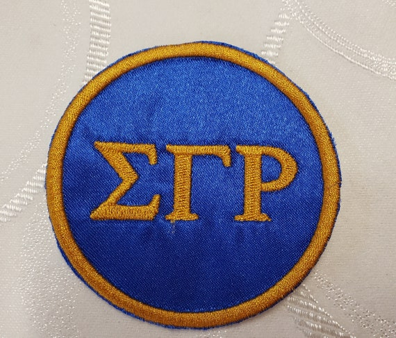 "Sigma Gamma Rho 3"" round Embroidered Greek Letter Patchs/Blue Satin Iron On Patch/Divine Nine/SIGMA GAMMA RHO Patch"