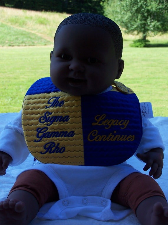 Future SIGMA GAMMA RHO Legacy Continues Satin Baby Bib/Personalized Girl's Bib/Royal Blue/Gold/Color Blocked Bib/