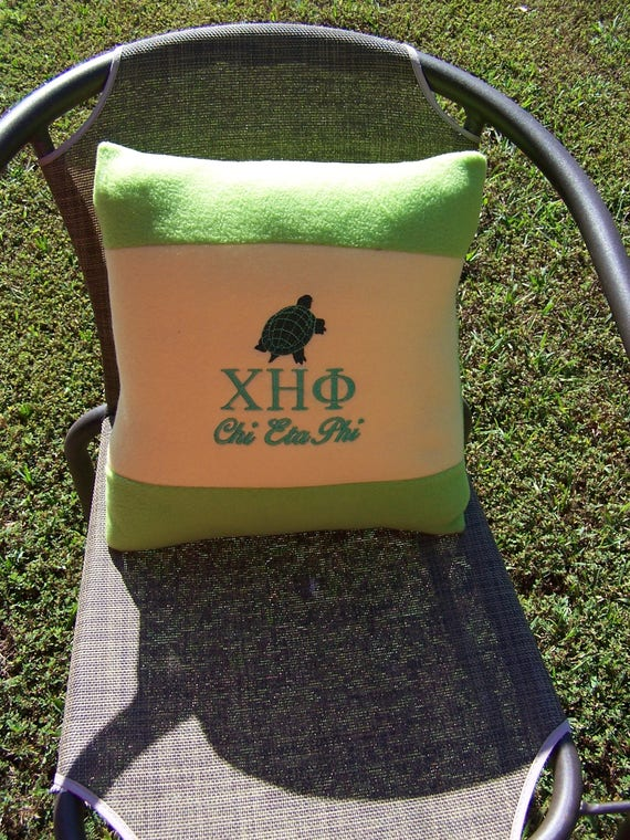 "Chi Eta Phi Nurses Sorority Greek Letter with Turtle 16"" Color Blocked Green & Yellow Pillow/Chi Eta Phi 16"" Pillow/Black Nurses Sorority"