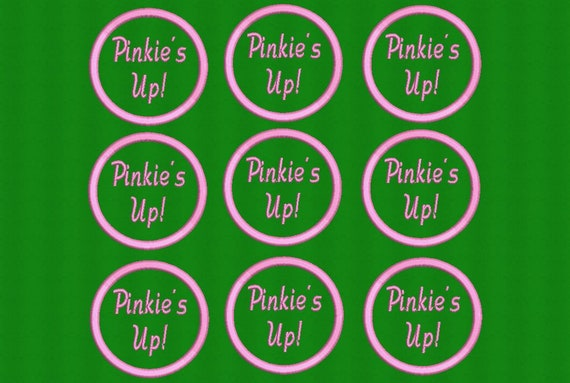 "Pinkie's Up 3"" round Embroidered Greek Letter Patch/Pink Satin Iron On Patch/Embroidered Sorority Patch/AKA Emerald Green Patch"