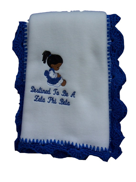 Destined to be a Zeta Phi Beta  Fleece Blanket w/ crochet edge