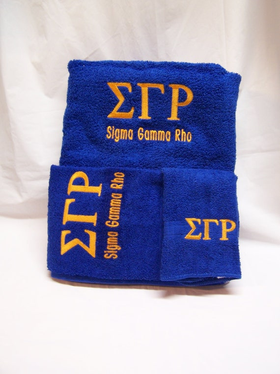 SIGMA GAMMA RHO  3 piece Towel Set (Bath, Hand and Wash)