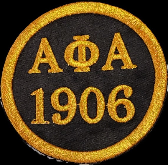 "ALPHA PHI ALPHA 1906 Patch 3""inch round / Black Satin w Gold Embroidery/Iron On Patch/Black w Gold Embroidered Round Iron or Sew On Patch"