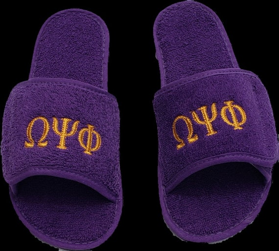 Chi Eta Phi, Kappa Alpha Psi,Sigma Gamma Rho, Phi Beta Sigma, OMEGA PSI PHI Terry  Slippers w Embroidered Greek Letters