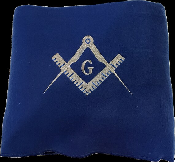 "MASON SQUARE BLANKET/60"" X 50"" Mason Square Throw Blanket/ 60"" x 50"" Royal Blue Embroidered Mason Square Stadium Blanket/Fraternal Blanket"