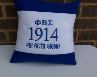 "Royal Blue & White Greek Letter Embroidered 16"" Color Blocked Fleece Pillow"
