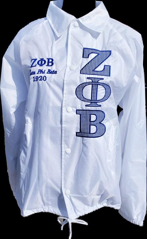 ZETA PHI BETA White Nylon Crossing Jacket w embroidered Greek Letters/Vertical Greek Letter Z P B F Lacey Embroidered Bold Greek Letters