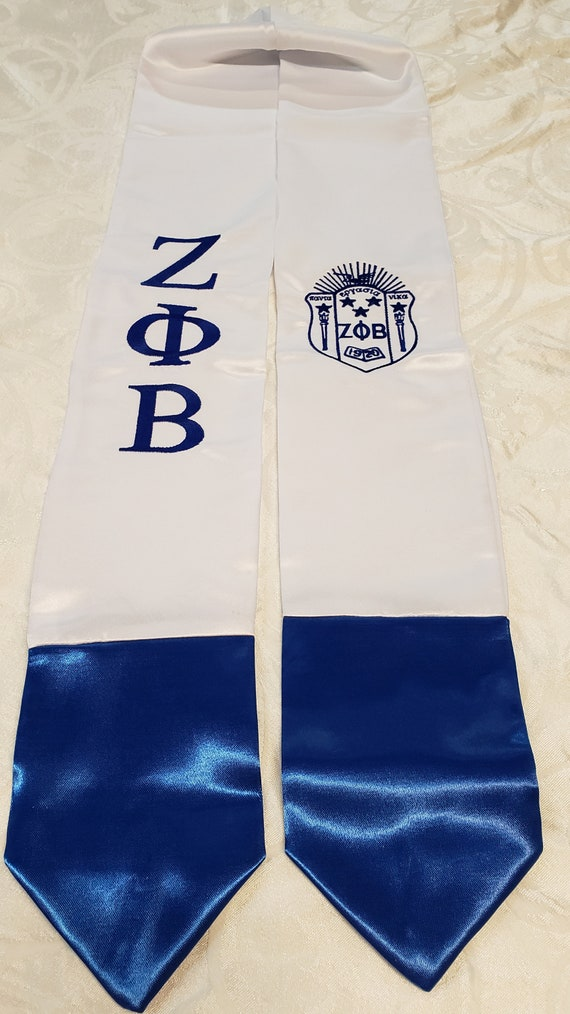Zeta Phi Beta Graduation stole W shield, Greek Letters White w Blue Tips/ZETA PHI BETA Embroidered Stole White w Royal Blue Tips