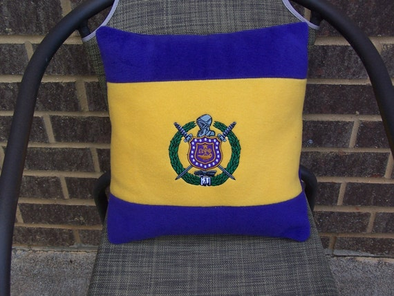 "OMEGA PSI PHI Embroidered Shield on Purple & Gold Color Blocked 14"" Pillow"